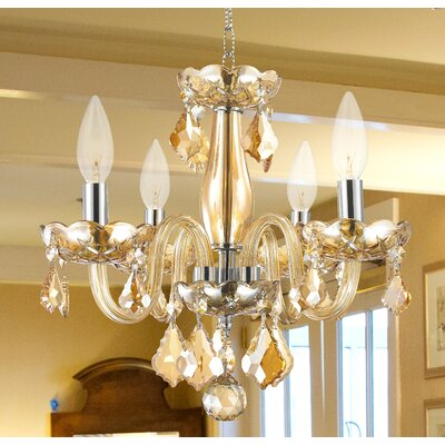 Yvette 4-Light Semi Flush Mount Finish: Amber