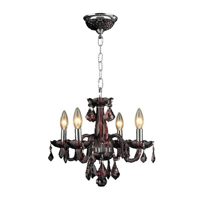 Yvette 4-Light Semi Flush Mount Finish: Cranberry
