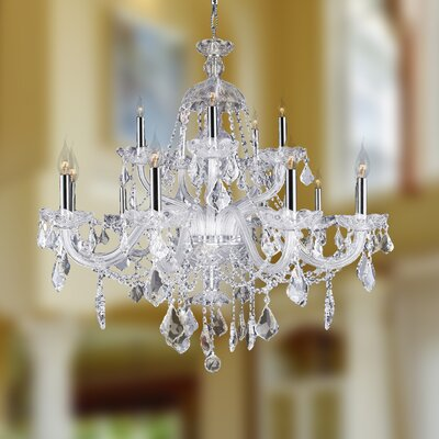 Doggett 15-Light Crystal Chandelier Crystal Color: Clear
