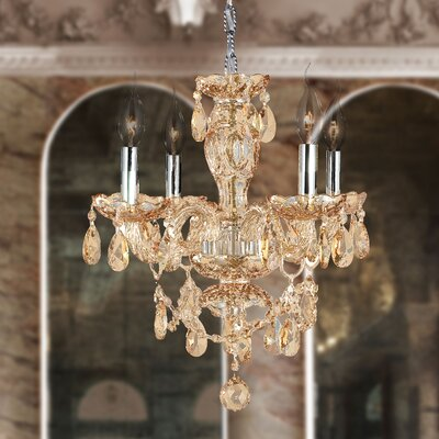 Doggett 4-Light Crystal Chandelier Crystal Color: Amber