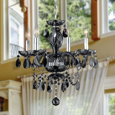Doggett 4-Light Crystal Chandelier Crystal Color: Black
