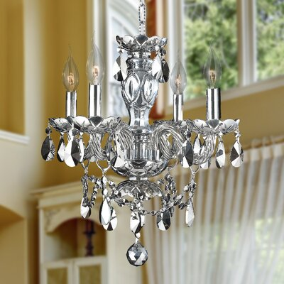 Doggett 4-Light Crystal Chandelier Crystal Color: Chrome