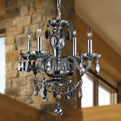 Doggett 4-Light Crystal Chandelier Crystal Color: Smoke