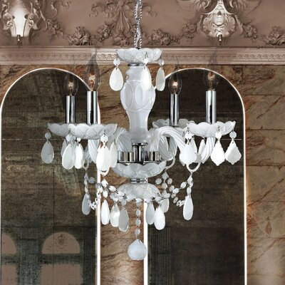 Doggett 4-Light Crystal Chandelier Crystal Color: White