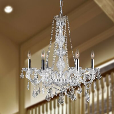 Doggett 6-Light Chain Crystal Chandelier Crystal Color: Clear