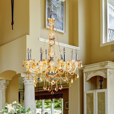 Doggett Traditional 8-Light Crystal Chandelier Crystal Color: Amber