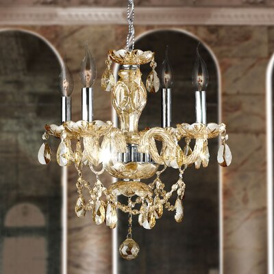 Doggett 4-Light Crystal Chandelier Crystal Color: Golden Teak