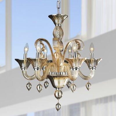 Murano 6-Light Candle-Style Chandelier Crystal Color: Amber