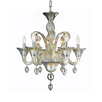 Murano 6-Light Candle-Style Chandelier Crystal Color: Golden Teak