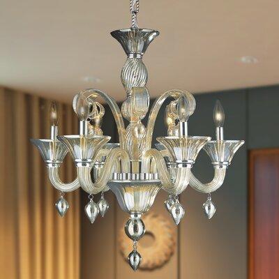 Melvina 6-Light Candle-Style Chandelier Crystal Color: Golden Teak