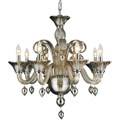 Murano 8-Light Candle-Style Chandelier Crystal Color: Golden Teak