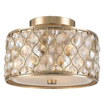 Adonis Crystal 3-Light Semi Flush Mount Finish: Champagne