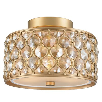 Adonis Crystal 3-Light Semi Flush Mount Finish: Matte Gold