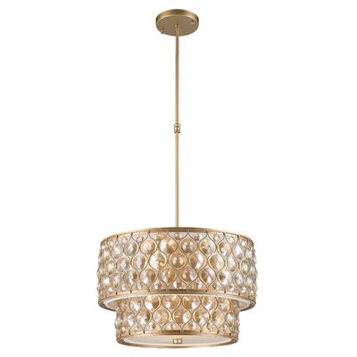 Adonis Crystal 9-Light Drum Pendant Finish: Matte Gold