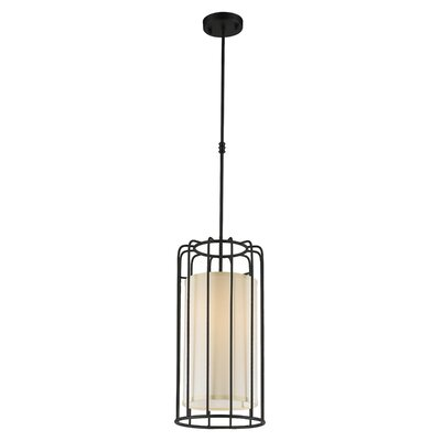 Outen Metal Cage 1-Light Foyer/Lantern Pendant Finish: Matte Black