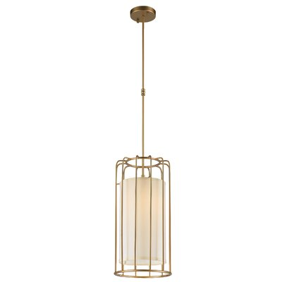 Outen Metal Cage 1-Light Foyer/Lantern Pendant Finish: Matte Gold