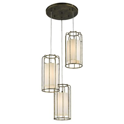 Outen Metal Cage 3-Light Cluster Pendant Finish: Antique Bronze