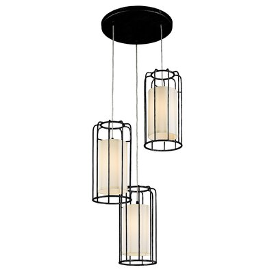 Outen Metal Cage 3-Light Cluster Pendant Finish: Matte Black