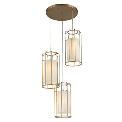Outen Metal Cage 3-Light Cluster Pendant Finish: Matte Gold