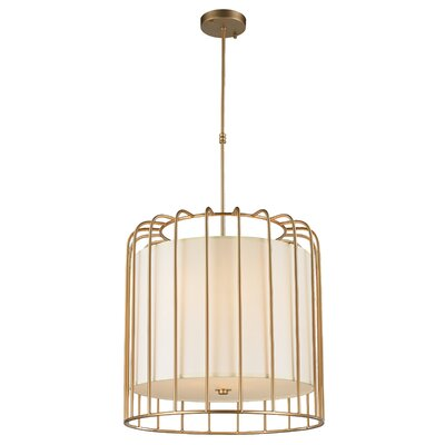 Outen Metal Cage 9-Light Foyer/Lantern Pendant Finish: Matte Gold