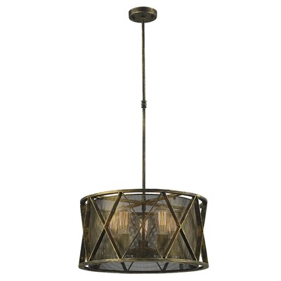 Carel Mesh 5-Light Drum Pendant Finish: Antique Bronze, Size: 54 H x 24 W x 24 D