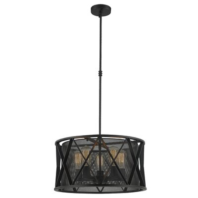 Carel Mesh 5-Light Drum Pendant Finish: Matte Black, Size: 52 H x 20 W x 20 D