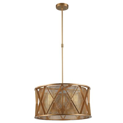 Carel Mesh 5-Light Drum Pendant Finish: Matte Gold, Size: 52 H x 20 W x 20 D