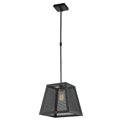 Carel Mesh Trapezoid 1-Light Mini Pendant Finish: Matte Black, Size: 48 H x 16 W x 16 D