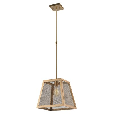 Carel Mesh Trapezoid 1-Light Mini Pendant Finish: Matte Gold, Size: 48 H x 16 W x 16 D