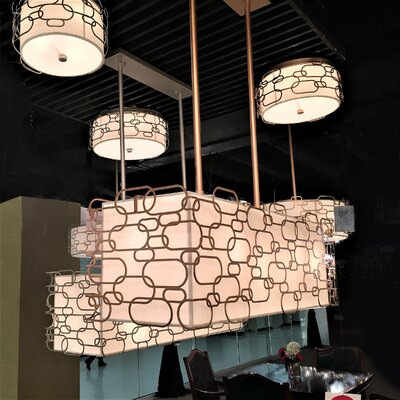 Lilianna Linen/Metal 9-Light Drum Pendant Finish: Matte Gold