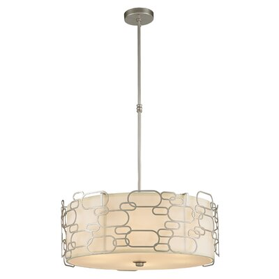 Lilianna Linen/Metal 9-Light Drum Pendant Finish: Matte Nickel