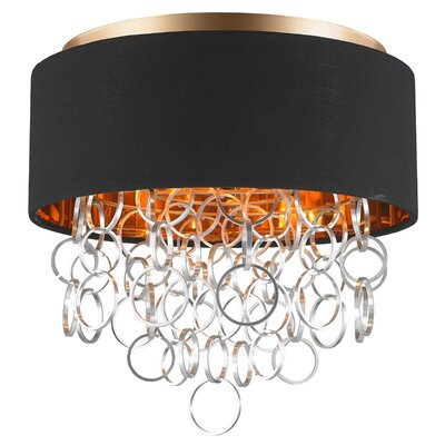 Aryanna Linen 4-Light Flush Mount Fixture Finish: Matte Gold