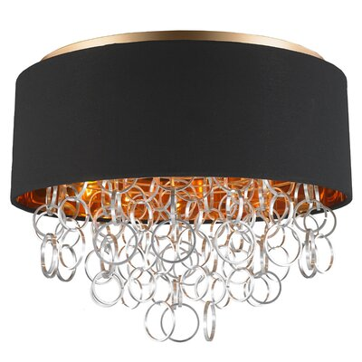 Aryanna Linen 5-Light Flush Mount Fixture Finish: Matte Gold