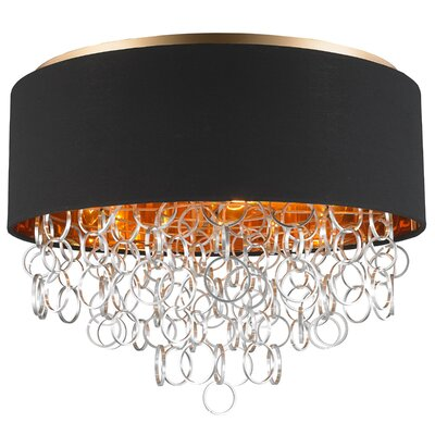 Aryanna Linen 6-Light Flush Mount Fixture Finish: Matte Gold