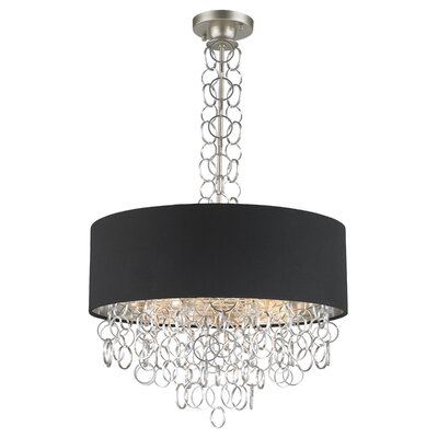 Aryanna Linen 6-Light Drum Pendant Finish: Matte Nickel