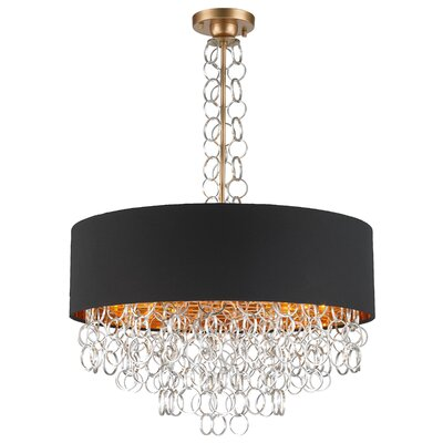 Aryanna Linen 8-Light Drum Pendant Finish: Matte Gold