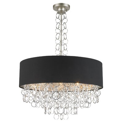 Aryanna Linen 8-Light Drum Pendant Finish: Matte Nickel