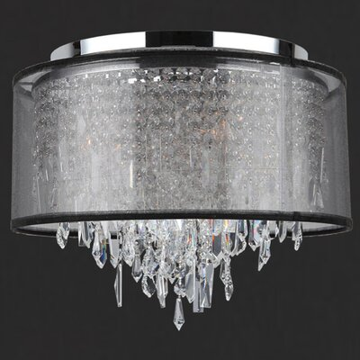 Meera 5-Light Flush Mount with Black Organza Shade