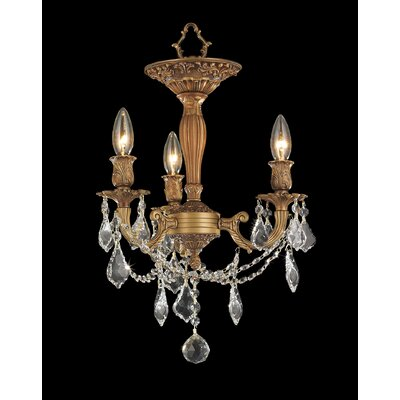 Windsor 3-Light Semi-Flush Mount Crystal Color: Clear