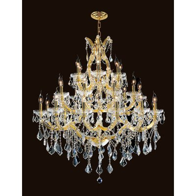 Kiazolu 28-Light Crystal Chandelier Color: Gold