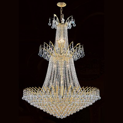 Carson 18-Light Crystal Chandelier Finish: Gold