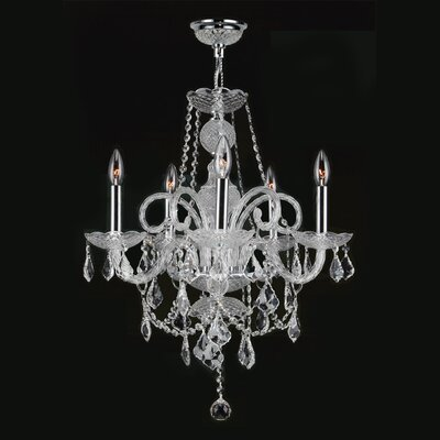 Doggett 5-Light Crystal Chandelier Crystal Color: Clear