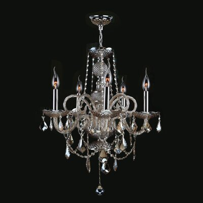 Doggett 5-Light Crystal Chandelier Crystal Color: Golden Teak