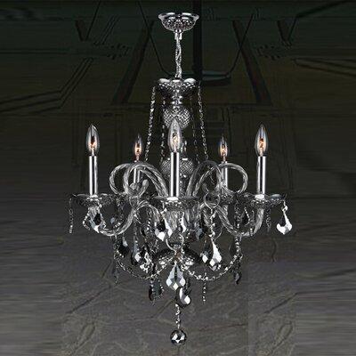 Provence 5-Light Crystal Chandelier Crystal Color: Smoke