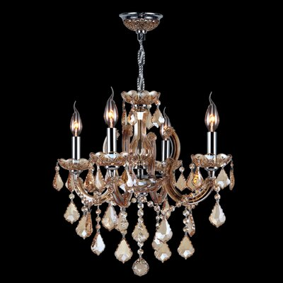 Catherine 4-Light Crystal Chandelier Crystal Color: Amber