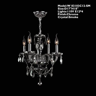 Provence 4-Light Crystal Chandelier Crystal Color: Smoke