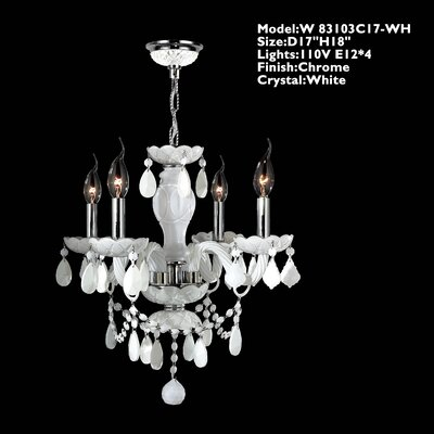 Provence 4-Light Crystal Chandelier Crystal Color: White