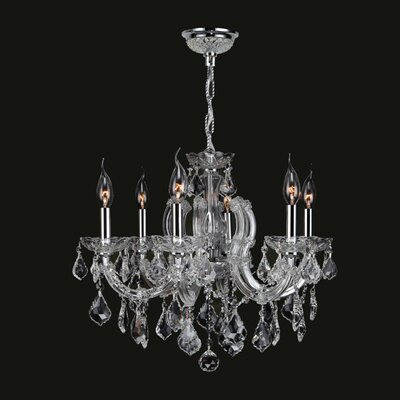 Roslyn Traditional 6-Light Crystal Chandelier Crystal Color: Clear