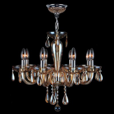 Roni 8-Light Candle-Style Chandelier Glass Color: Amber
