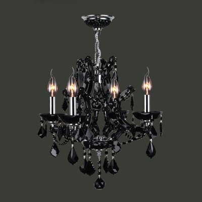 Lyre 4-Light Crystal Chandelier Crystal Color: Black